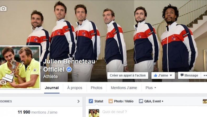 Augmentation importante des fans Facebook de Julien Benneteau